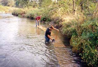 Re-rod is pounded into the stream bottom.lunker4.jpg 22Kb